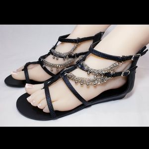 LUST FOR LIFE Sexy Sandals, Black, Silver, Size 8